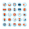 Flat design modern icons set of web design items illustration seo business and marketing with long shadow in stylish colors Royalty Free Stock Image