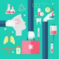 Flat design modern vector illustration of medical icons Royalty Free Stock Photos