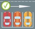 Flat design modern vector illustration of parking a car instruction