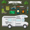 Flat design modern vector illustration of travel and vacation set. Camping and hiking equipment items, car RV, knife and backpack,