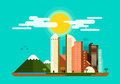 Flat design modern vector illustration urban landscape and city Royalty Free Stock Photo