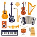 Flat design musical instruments, set of icons. Guitar, synthesizer, violin, cello, drum, cymbals, saxophone, accordion, tambourine Royalty Free Stock Photo
