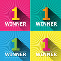 Flat design number one first place winner and badg Royalty Free Stock Photo