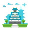 Flat design Osaka castle