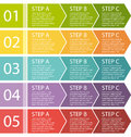 Flat design process arrows boxes set step by step Stock Photography