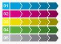 Flat design process arrows boxes step by step set five steps illustration Stock Images