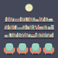 Flat Design Reading Seats and Bookshelves