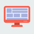 Flat Design. Red Monitor woth Blocks of Information. Royalty Free Stock Photo