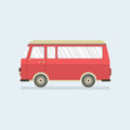 Flat Design Red Van. Royalty Free Stock Photo