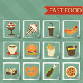 Flat design retro style fast food icons set on tablecloth background Stock Images