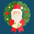 Flat design of Santa Claus and christmas wreath. Vector illustration