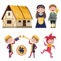 Set of medieval characters and house