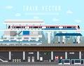 Flat design set of Train, Sky Train, Subway Vector.