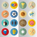 Flat design of sport half cut icons