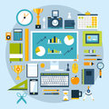 Flat design style modern illustration icons set of office items and tools