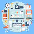 Flat design style modern illustration icons set of office items and tools various objects equipment Royalty Free Stock Images