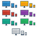 Flat design style responsive device icons includes screen monitor tablet and phone new trend Stock Photography