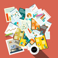 Flat Design Top View Paperwork Vector Illustration Royalty Free Stock Photo