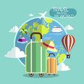Flat design for travel around the world concept Royalty Free Stock Photo