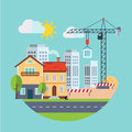 Flat Design Vector Building Construction and Urban Royalty Free Stock Photo