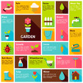 Flat Design Vector Icons Infographic Garden Nature Concept Royalty Free Stock Photo