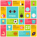 Flat Design Vector Icons Infographic Sport Recreation