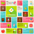 Flat Design Vector Icons Infographic Spring Gardening Concept Royalty Free Stock Photo