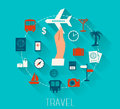 Flat design  vector icons set of vacation and travel. Royalty Free Stock Photo
