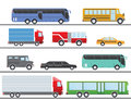 Flat design vector illustration city Transportation Flat Icons. Trucks, Bus, taxi, limo, fire truck, and school bus Royalty Free Stock Photo
