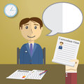 Flat design vector illustration concept for job interview, Hand Holding CV Profile talking to Candidate on Position