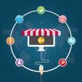 Flat design vector illustration icons of e-commerce symbols, marketing, online shopping Royalty Free Stock Photo