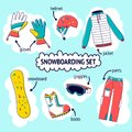Flat design vector illustration set of snowboard equipment icon . Winter sports. Outfit, clothing, accessories for snowboarding Royalty Free Stock Photo