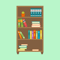 Flat design wardrobe of cupboard icon isolated vintage lifestyle retro larder with shelves and storage box interior