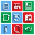 Flat document office icons with shadow this is file of eps format Royalty Free Stock Photo