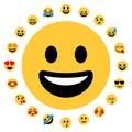 20 Flat Emoji Smileys Face Positive Royalty Free Stock Photo