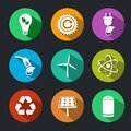 Flat energy and ecology icons set with light bulb nuclear power gas station decorative elements isolated vector illustration Royalty Free Stock Photo