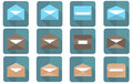Flat envelope in flat design. Emailing and global communication Royalty Free Stock Photo