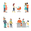 Flat Family cook baby pregnant woman parenting vec