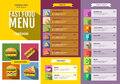 Flat Fast food menu. Set of food and drinks icons. Royalty Free Stock Photo