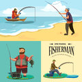 Flat fisherman hat sits on shore with fishing rod in hand and catches bucket and net, Fishman crocheted spin into the