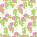 Flat floral clover seamless pattern vector illustration