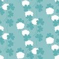 Flat floral clover seamless pattern vector illustration.