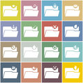 Flat folder icon set with color background of Stock Image