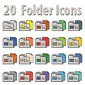 20 Flat folder icons Royalty Free Stock Photo