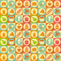 Flat food seamless background labels in retro style design illustrations Stock Photo