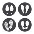 Flat footprint icons set Royalty Free Stock Photo
