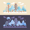 Flat forest scene with day and night