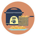 Flat vector colorful fryer with plate of hot tasty french fries symbol. Fastfood cooking symbol. Kitchen equipment Royalty Free Stock Photo