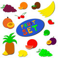 Flat fruit set a of bright fruits and berries vector illustration eps isolated on white Royalty Free Stock Image