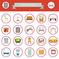 Flat Furniture Icons and Symbols Set for Living Room Isolated Vector Illustration